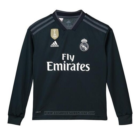 Camiseta Real Madrid Segunda Nino Manga Larga 2018 2019